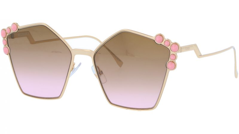 FENDI FF0261/S 00053 57 Rose Gold Studded Pentagon Sunglasses
