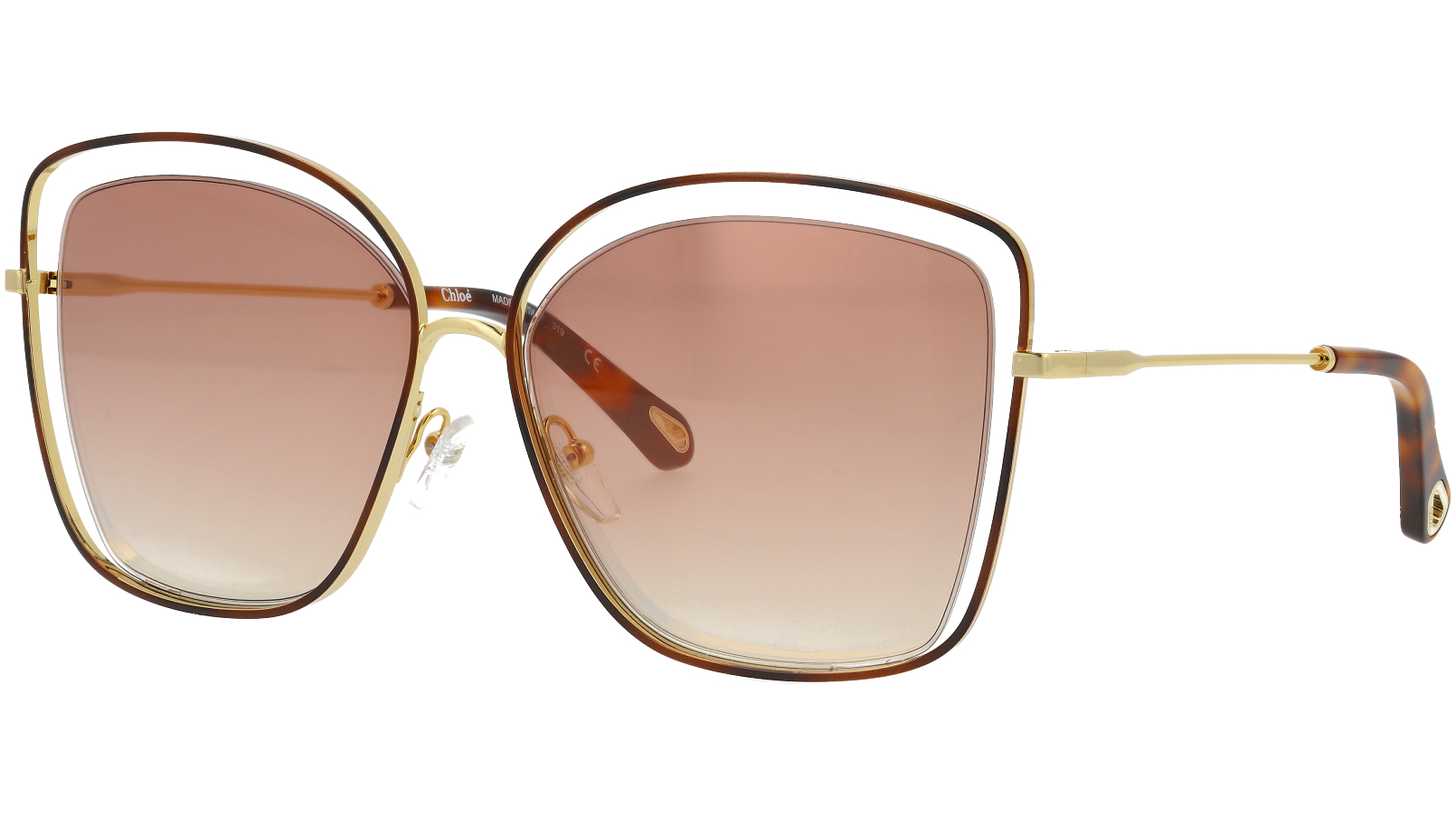 Chloé CE133S 205 60 Havana Brown Poppy Cat-Eye Sunglasses