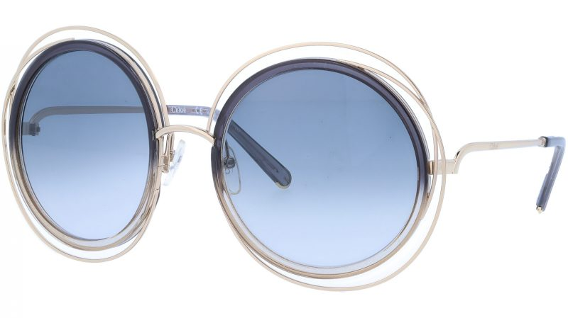 CHLOE CE120SD 774 58 Gold Grey Gradient Carlina Round Sunglasses
