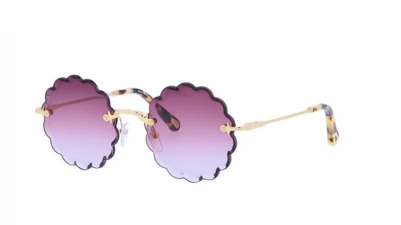 CHLOE CE142S 824 53 Gold Purple Round Sunglasses