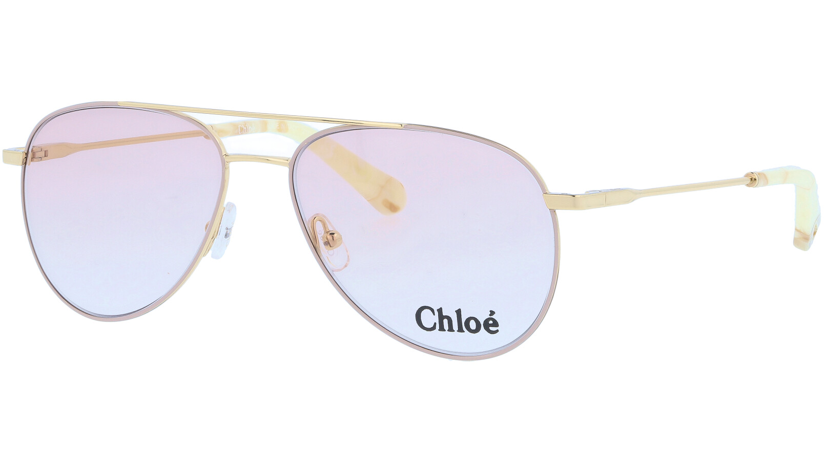 CHLOE CE2137 743 55 Gold Beige Aviator Sunglasses