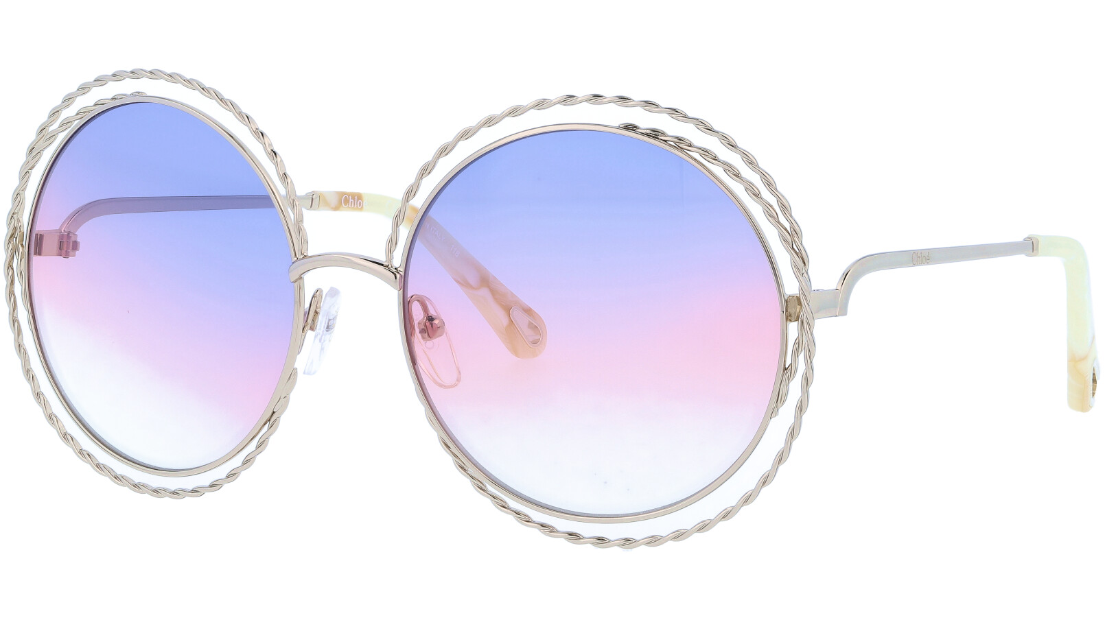 CHLOE CE114ST 779 58 Gold Carlina Round Sunglasses