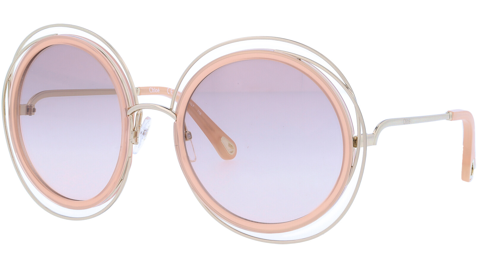 CHLOE CE120SD 724 58 Gold Carlina Round Full Rim Sunglasses