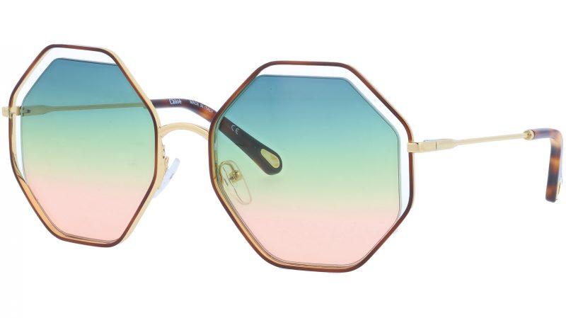 Chloé CE132S 262 58 Havana Green Pink Octagonal Sunglasses
