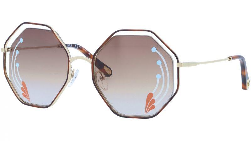 CHLOE CE132SRI 258 58 Havana Brown Octagonal Sunglasses