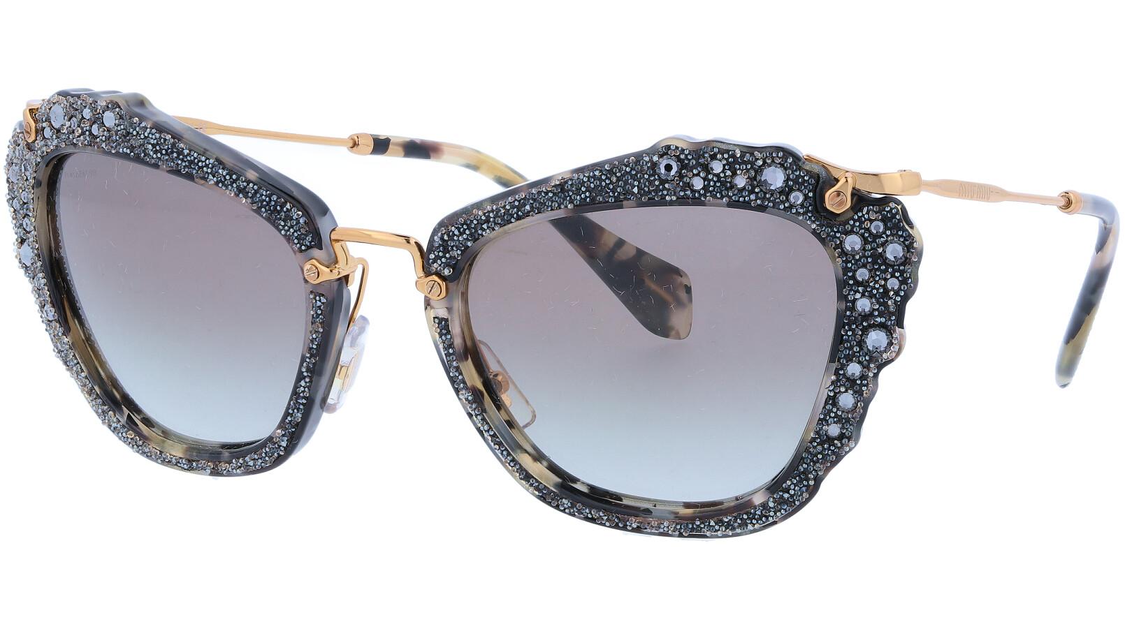 MIU MIU MU04QS DHE0A7 55 Havana Noir Cat-Eye Sunglasses