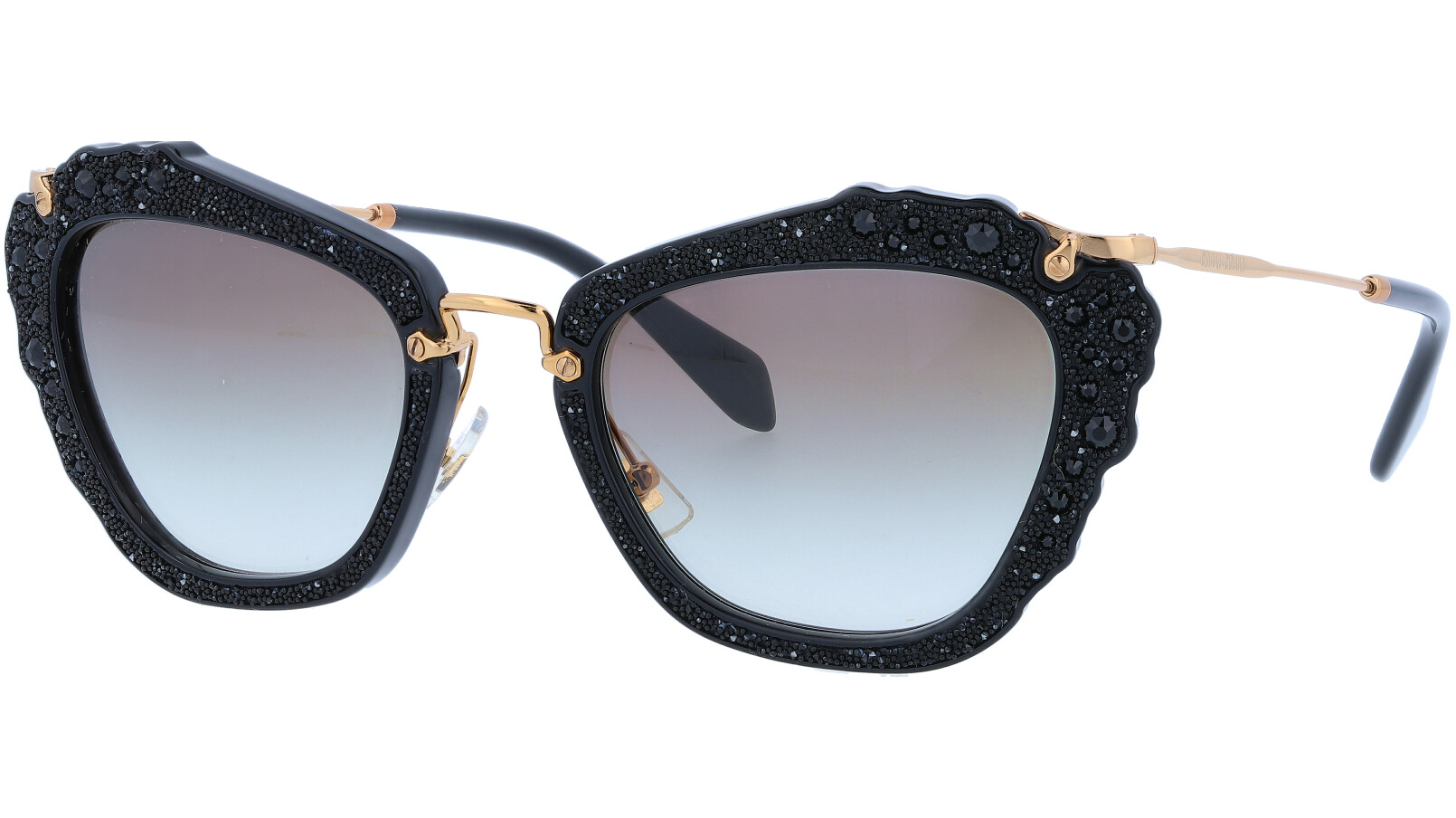 MIU MIU MU04QS 1AB0A7 55 Black Noir Cat-Eye Sunglasses