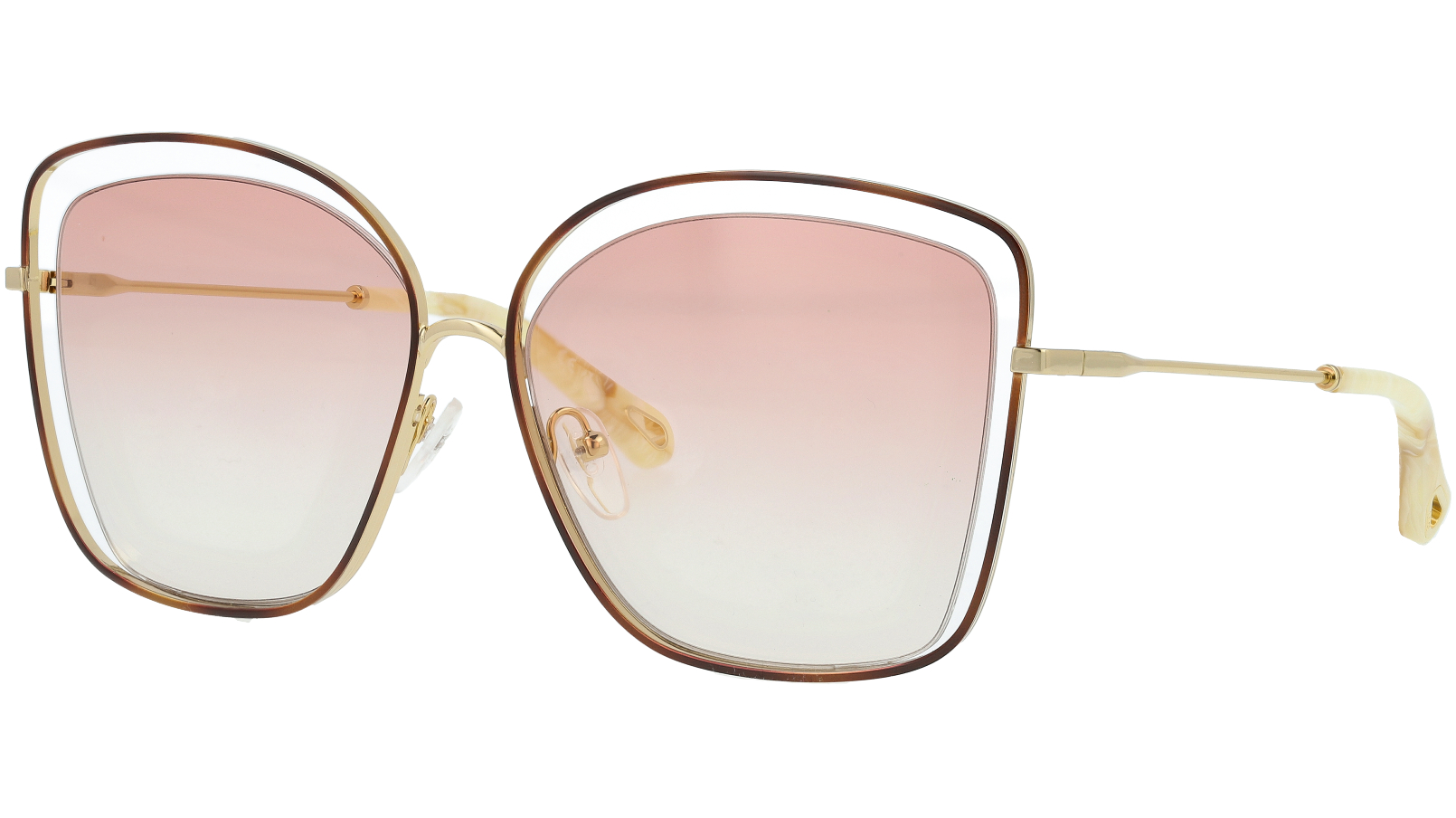 CHLOE CE133S 211 60 Havana Peach Poppy Cat-Eye Sunglasses