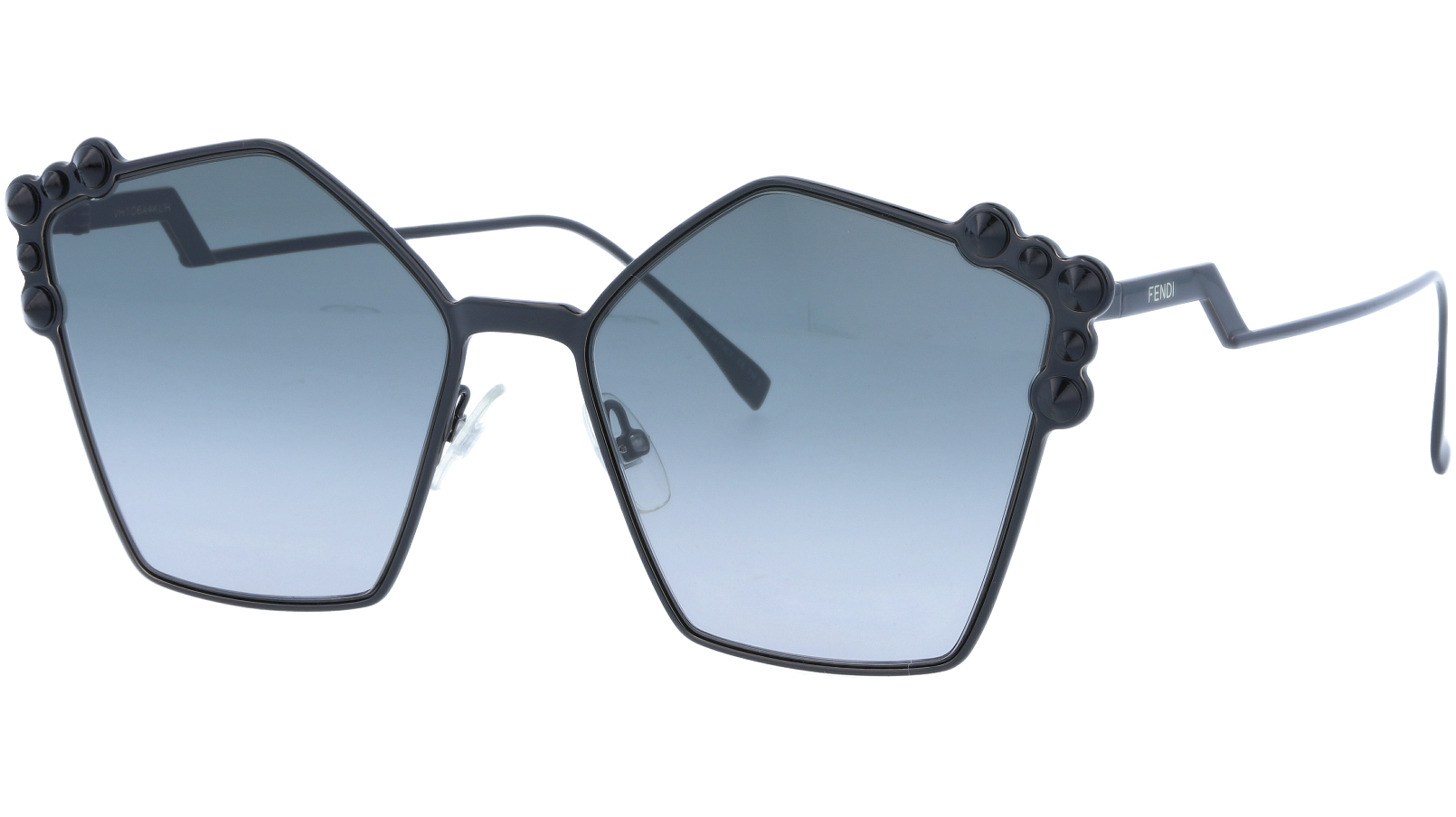 FENDI FF0261/S 20590 57 Black Studded Pentagon Sunglasses