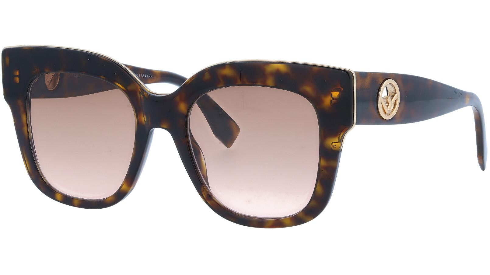 FENDI FF0359/G/S 086M2 51 Dark Havana Square Sunglasses