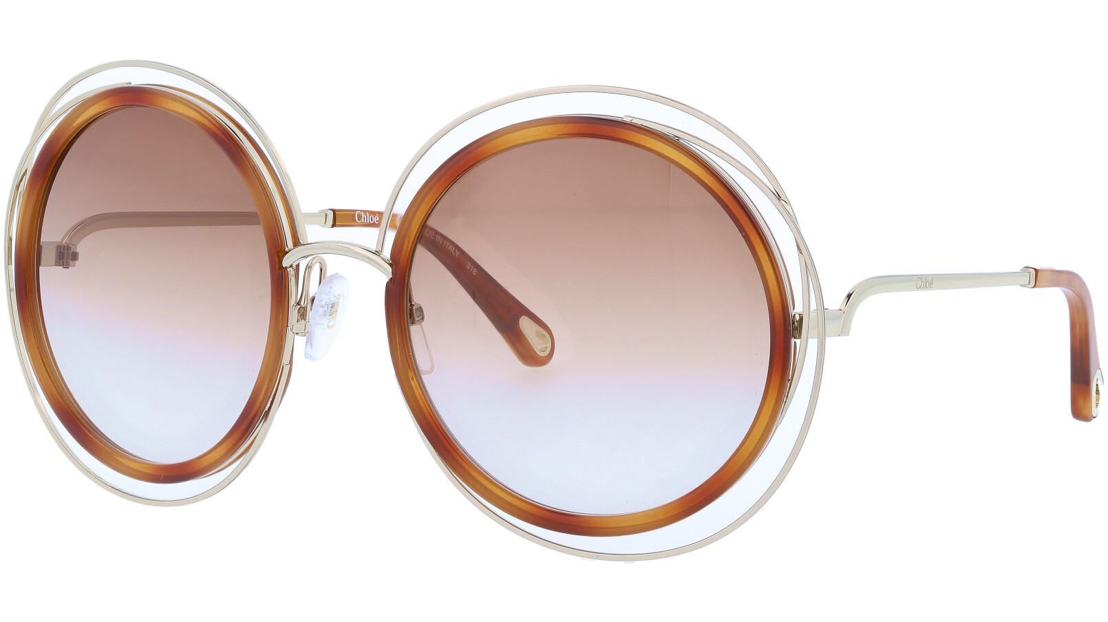 CHLOE CE120SD 736 58 Gold Havana Carlina Round Sunglasses