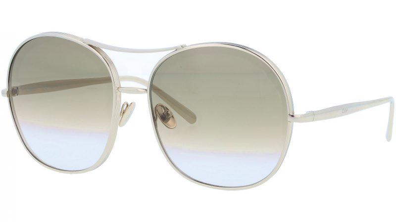Chloé CE128S 750 61 Gold Khaki Round Sunglasses