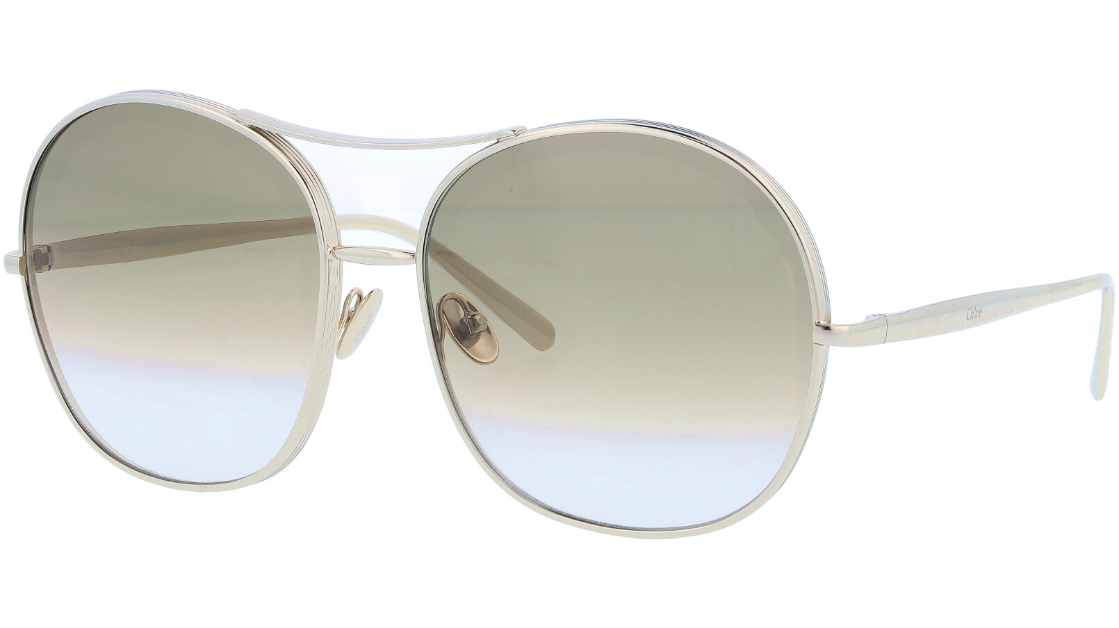 CHLOE CE128S 750 61 Gold Khaki Round Sunglasses