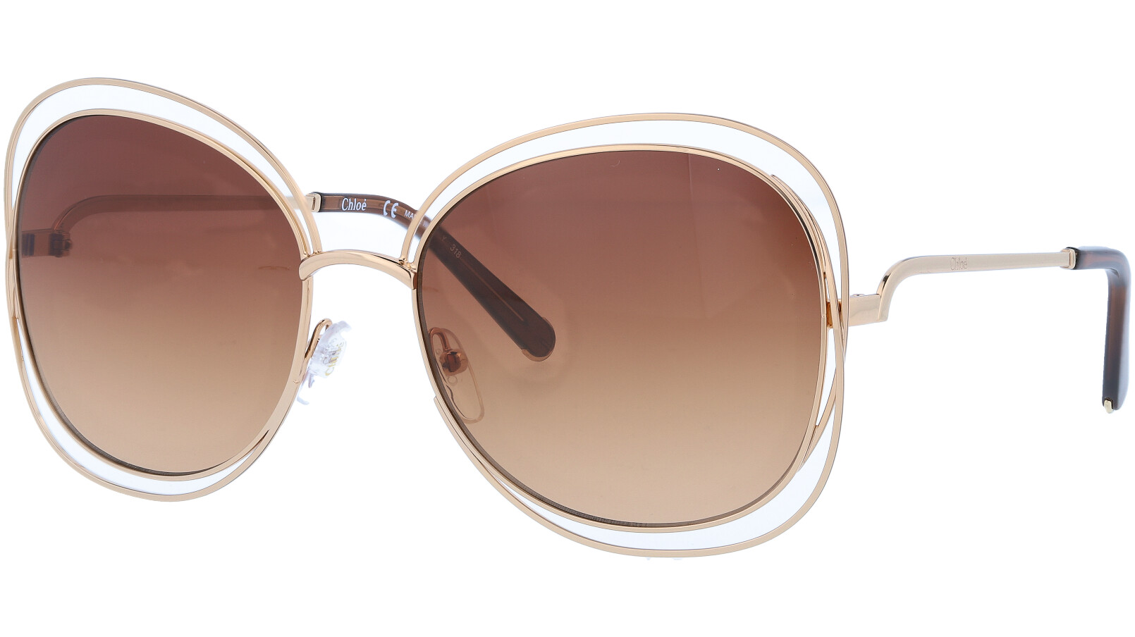 CHLOE CE119S 786 60 Rose Gold Carlina Aviator Sunglasses