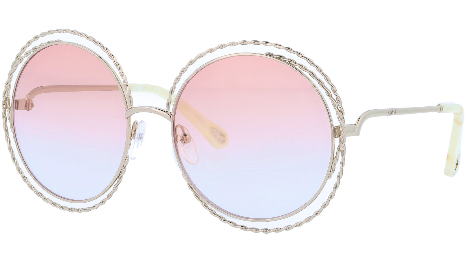 CHLOE CE114ST 724 58 Gold Peach Carlina Round Sunglasses