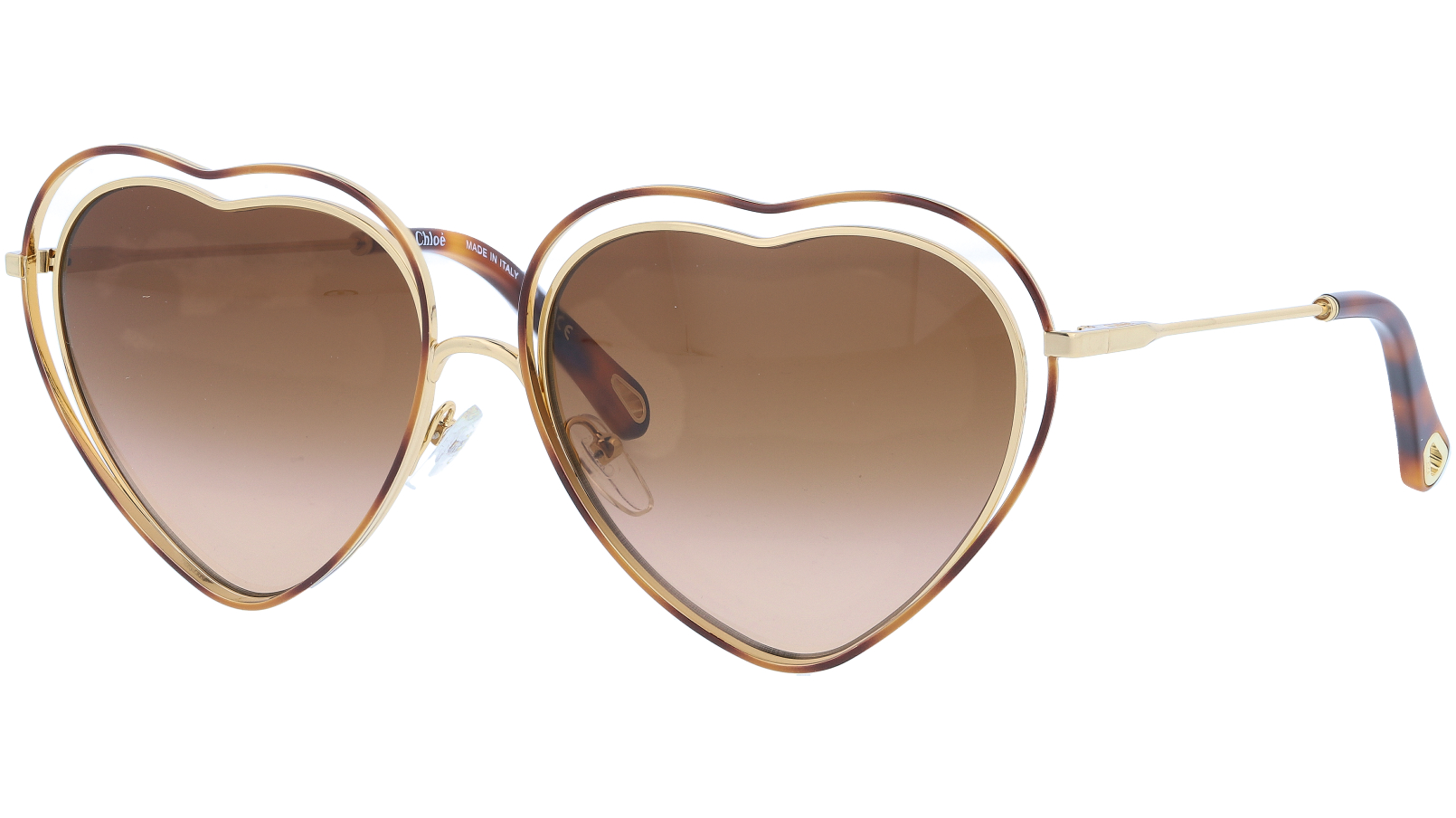 CHLOE CE131S 213 61 Havana Brown Poppy Heart Sunglasses