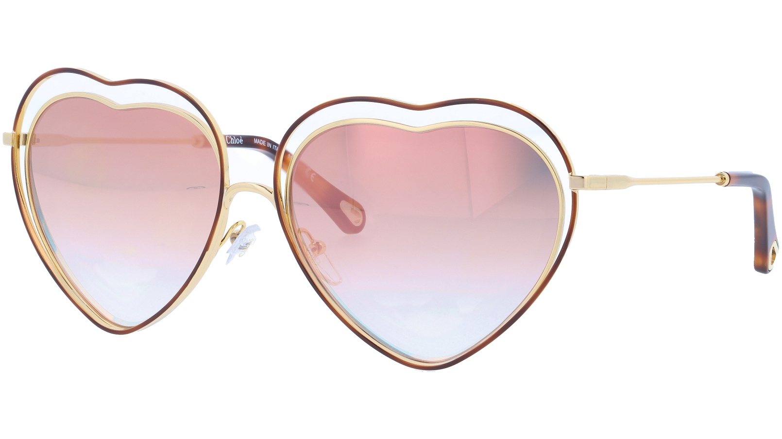 CHLOE CE131S 238 61 Havana Brown Peach Poppy Heart Sunglasses