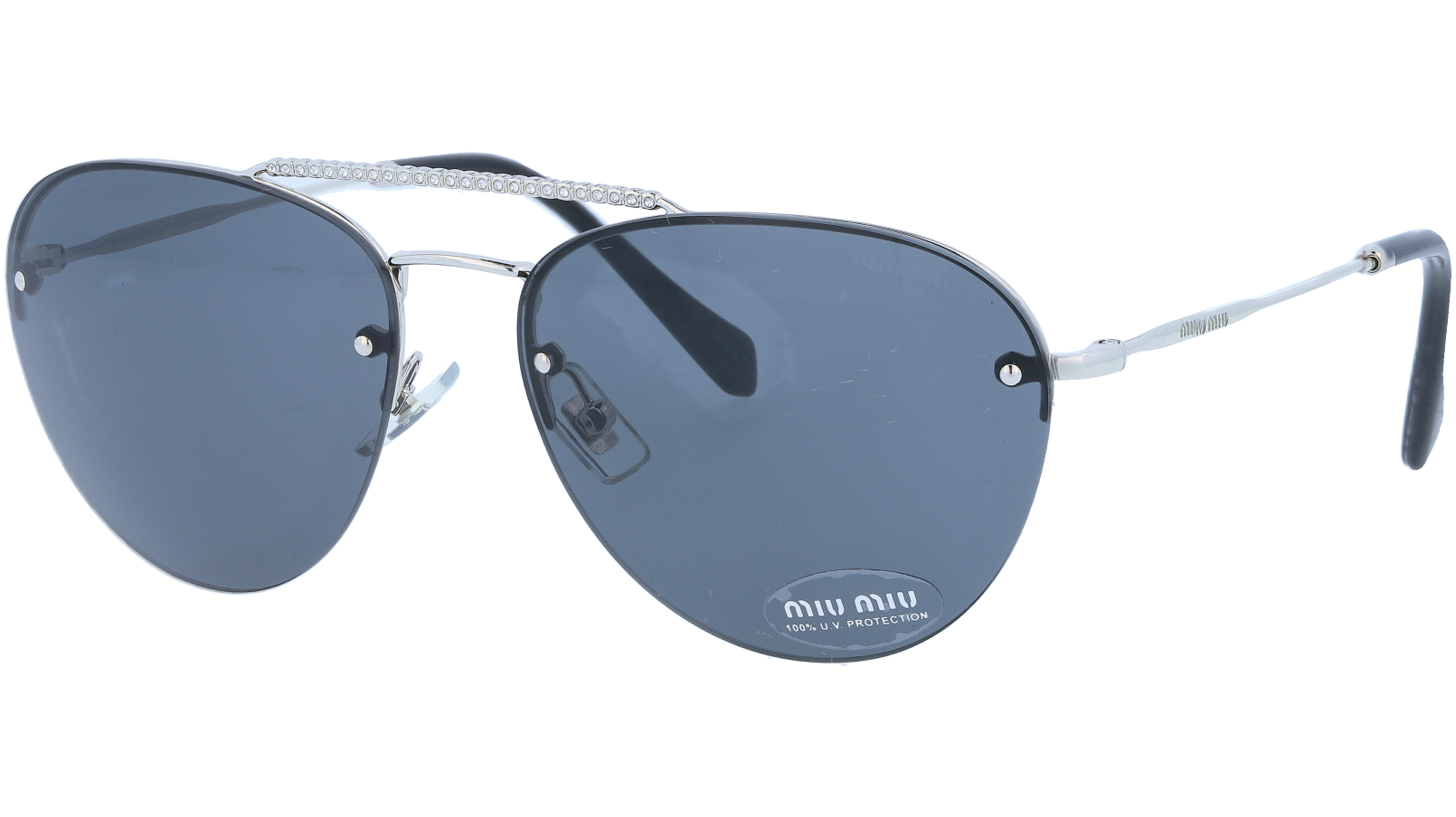 Miu Miu MU54US 1BC1A1 59 Grey Silver Sunglasses