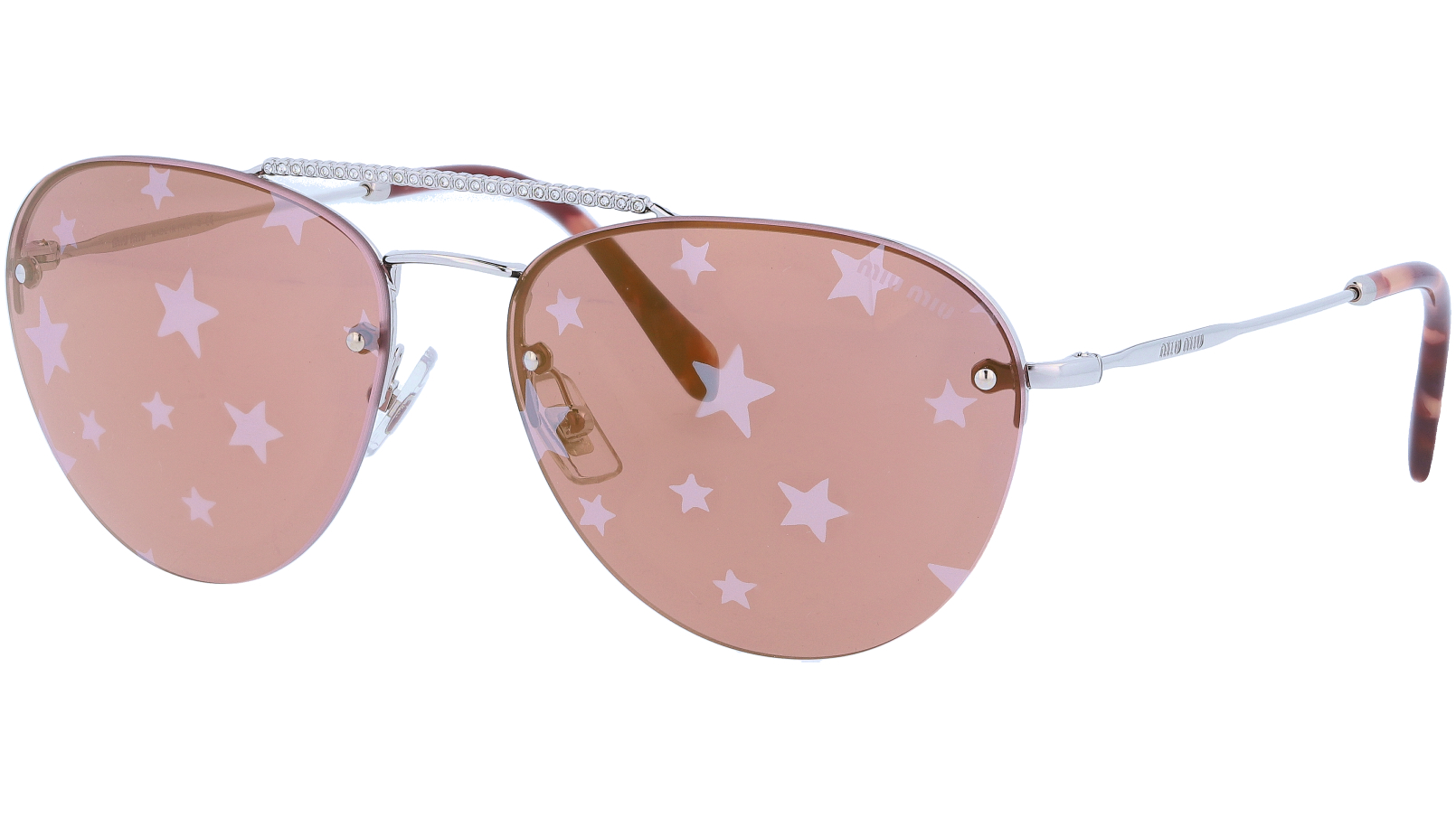 MIU MIU MU54US 1BC195 59 Silver Pink Sunglasses