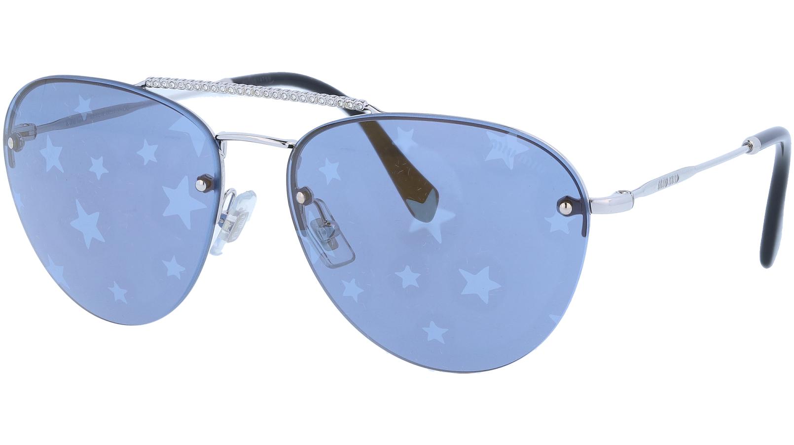 MIU MIU MU54US 1BC182 59 Silver Blue Sunglasses
