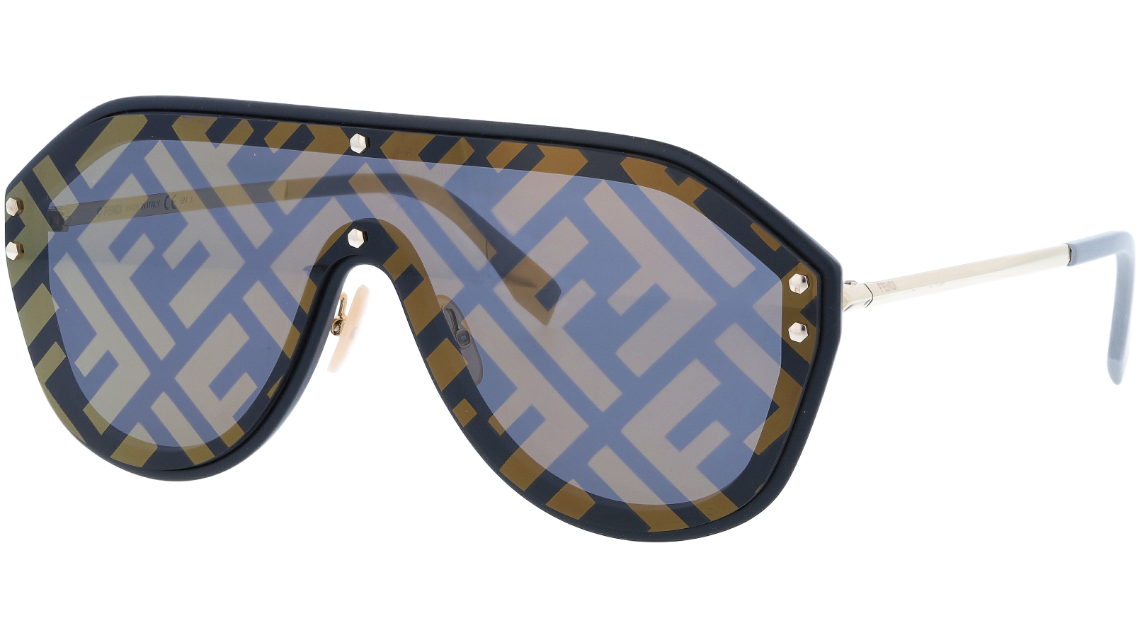 FENDI FFM0039/G/S 2M27Y 99 Black Shield Sunglasses