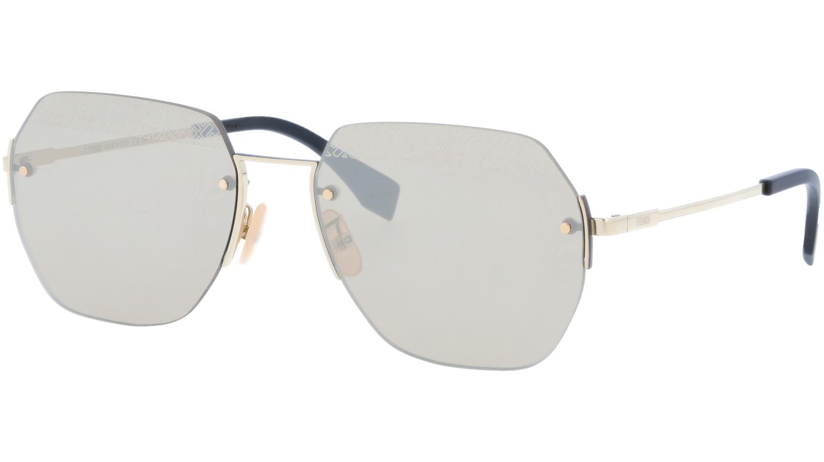 FENDI FFM0067/F/S J5GVP 60 Gold Geometric Sunglasses