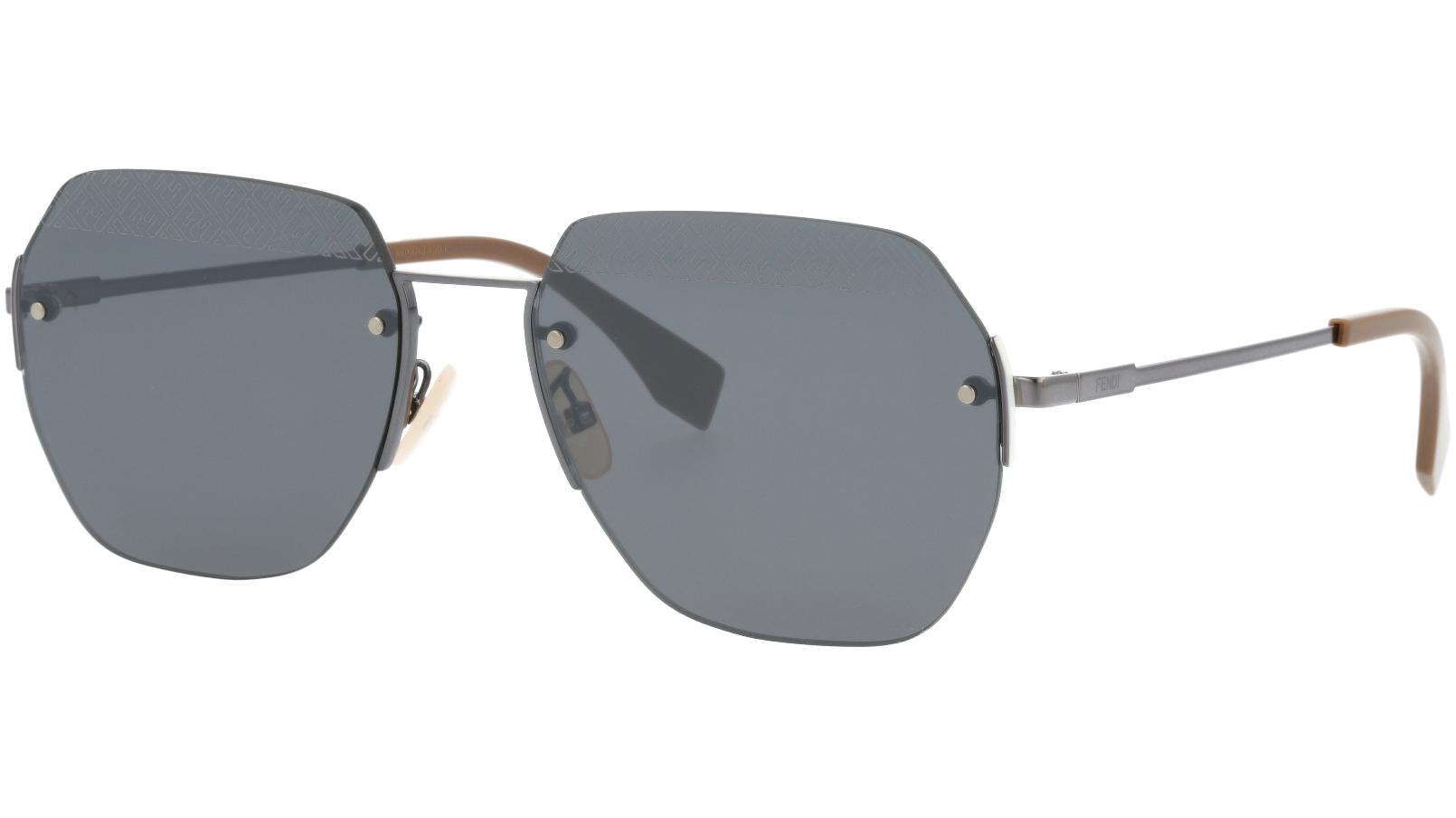 FENDI FFM0067/F/S 807T4 60 Black Geometric Sunglasses