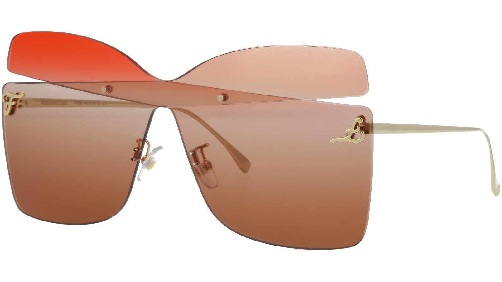 FENDI FF0399/S G63HA 99 Red Oplpeach Rimless Sunglasses