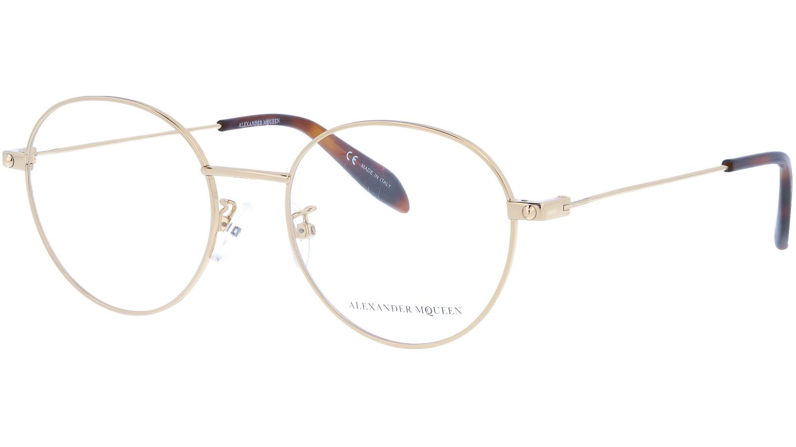 Alexander McQueen AM0141OA 002 52 GOLD Glasses