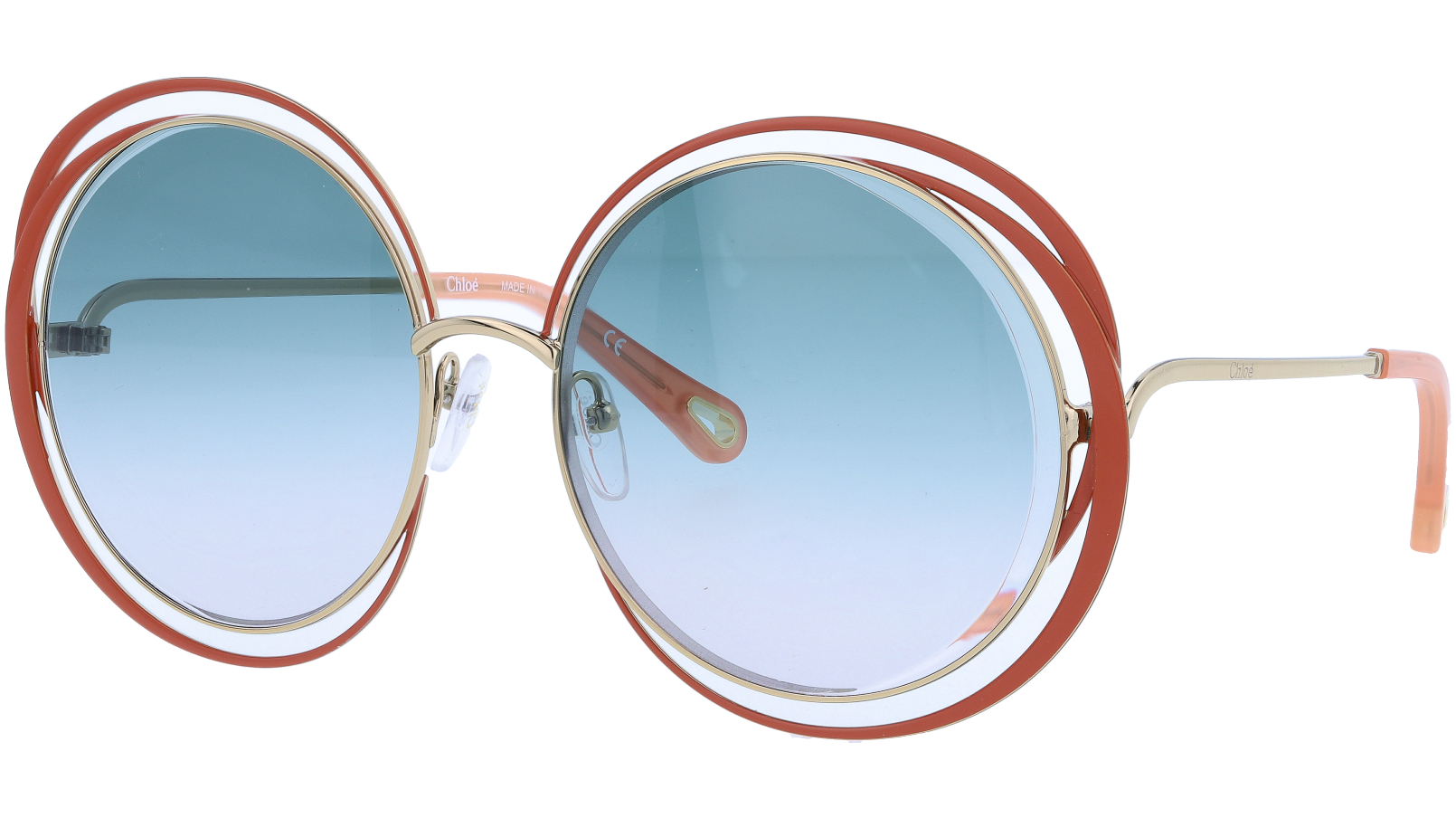 CHLOE CE155S 743 59 Gold Brown Carlina Round Sunglasses