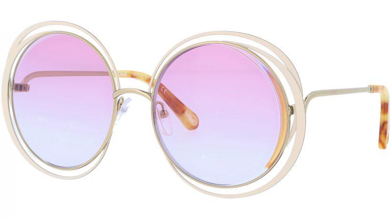 Chloé CE155S 795 59 Gold Ivory Carlina Round Sunglasses