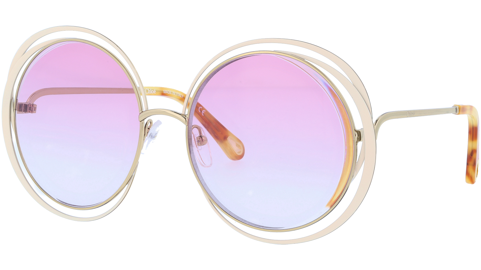 CHLOE CE155S 795 59 Gold Ivory Carlina Round Sunglasses