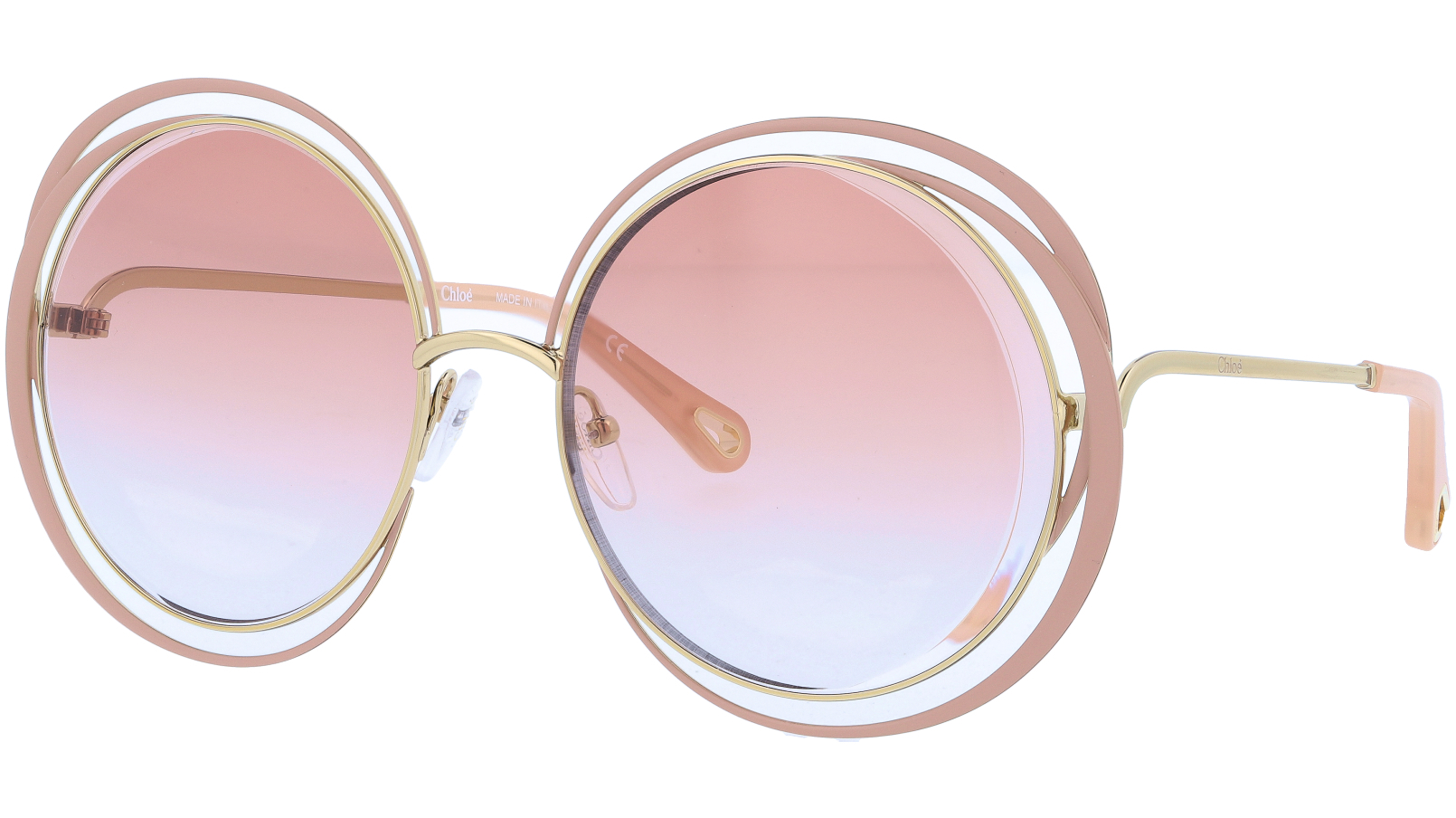 CHLOE CE155S 798 59 Gold Nude Carlina Round Sunglasses
