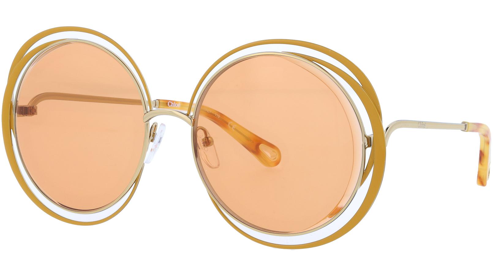 CHLOE CE155S 848 59 Gold Ochre Carlina Round Sunglasses