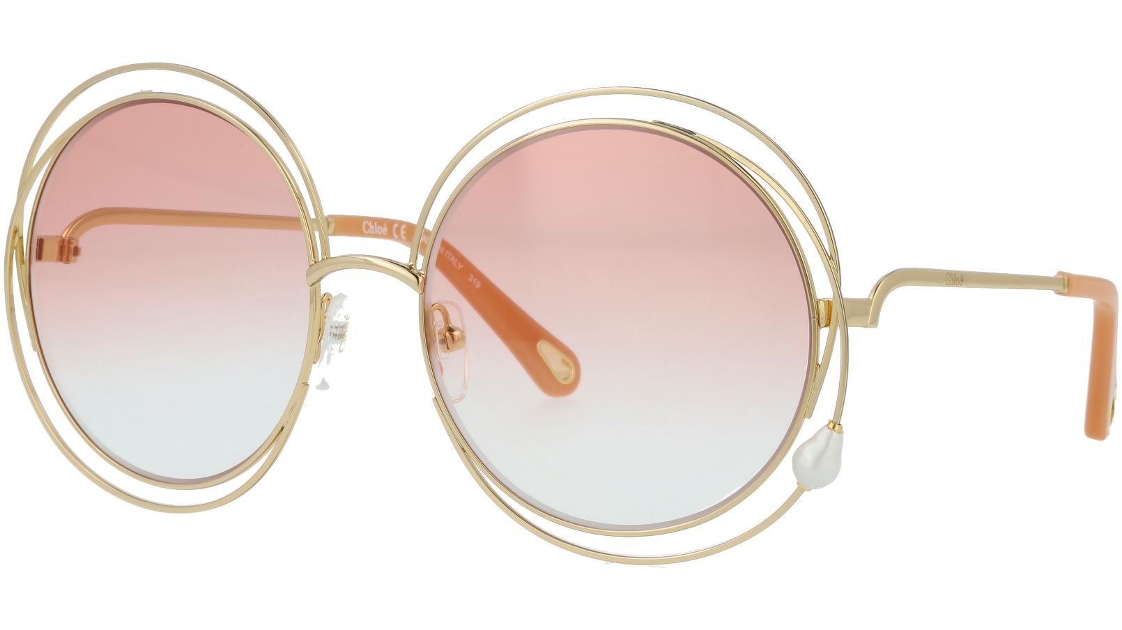 CHLOE CE114SPRL PEARL 862 58 Gold Round Carlina Sunglasses
