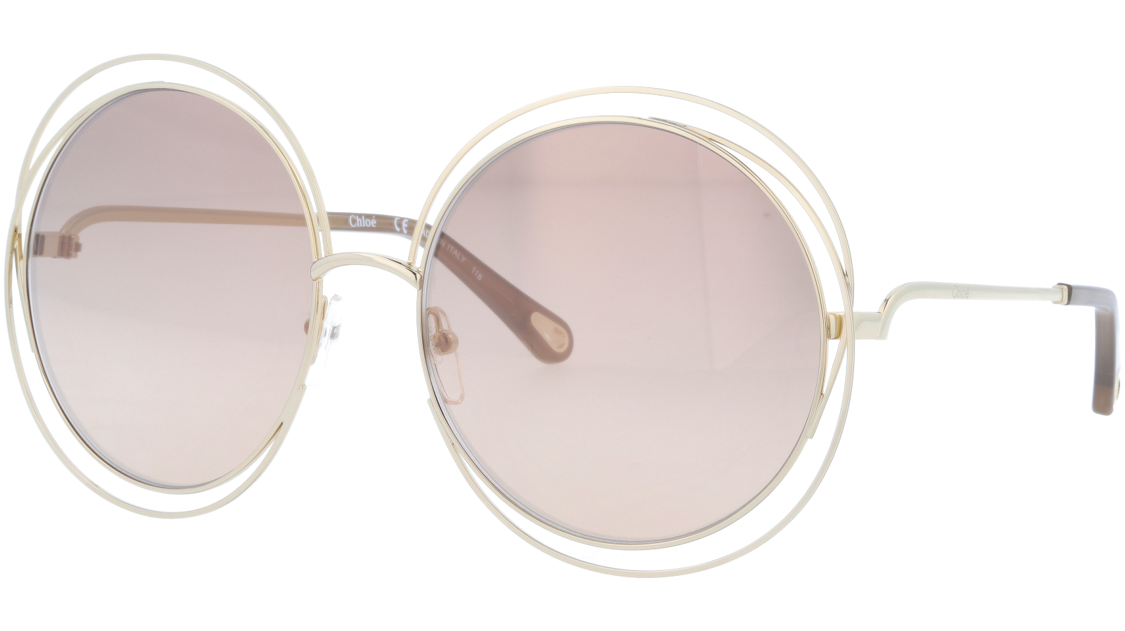 CHLOE CE114SD 784 62 Rose Gold Round Sunglasses