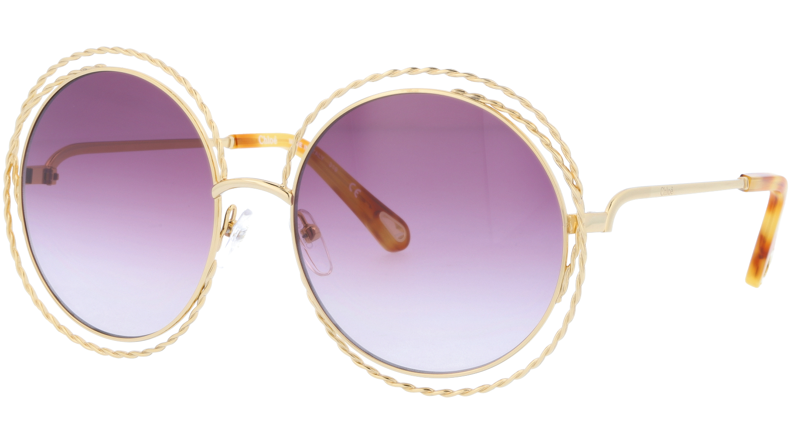 CHLOE CE114ST 872 58 Gold Gradient Plum Carlina Round Sunglasses