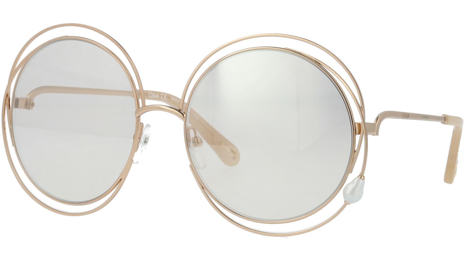 CHLOE CE114SPRL PEARL 857 58 ROSE Gold Round Carlina Sunglasses