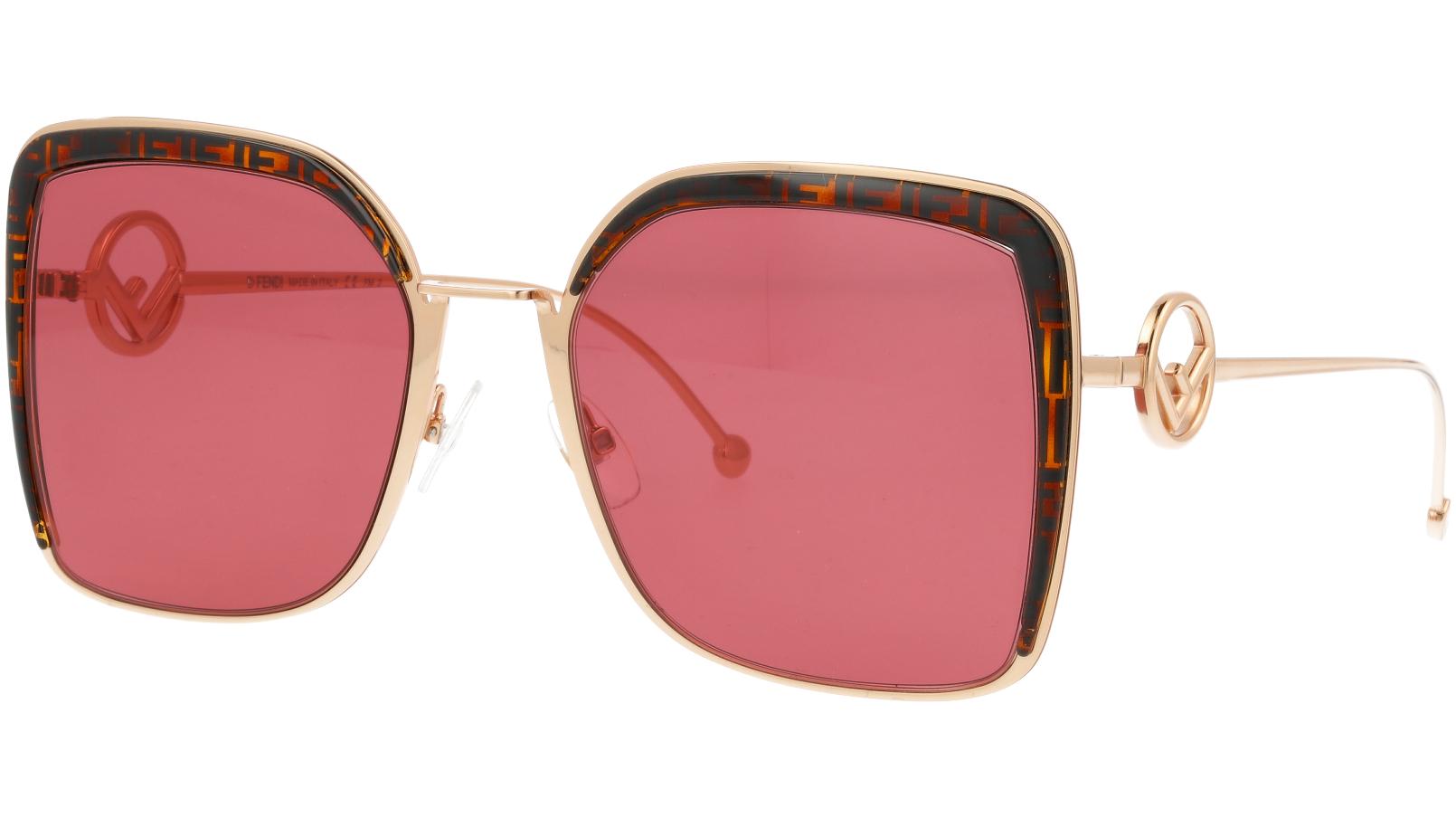 FENDI FF0294/S DDB4S 58 Gold Copper Square Sunglasses