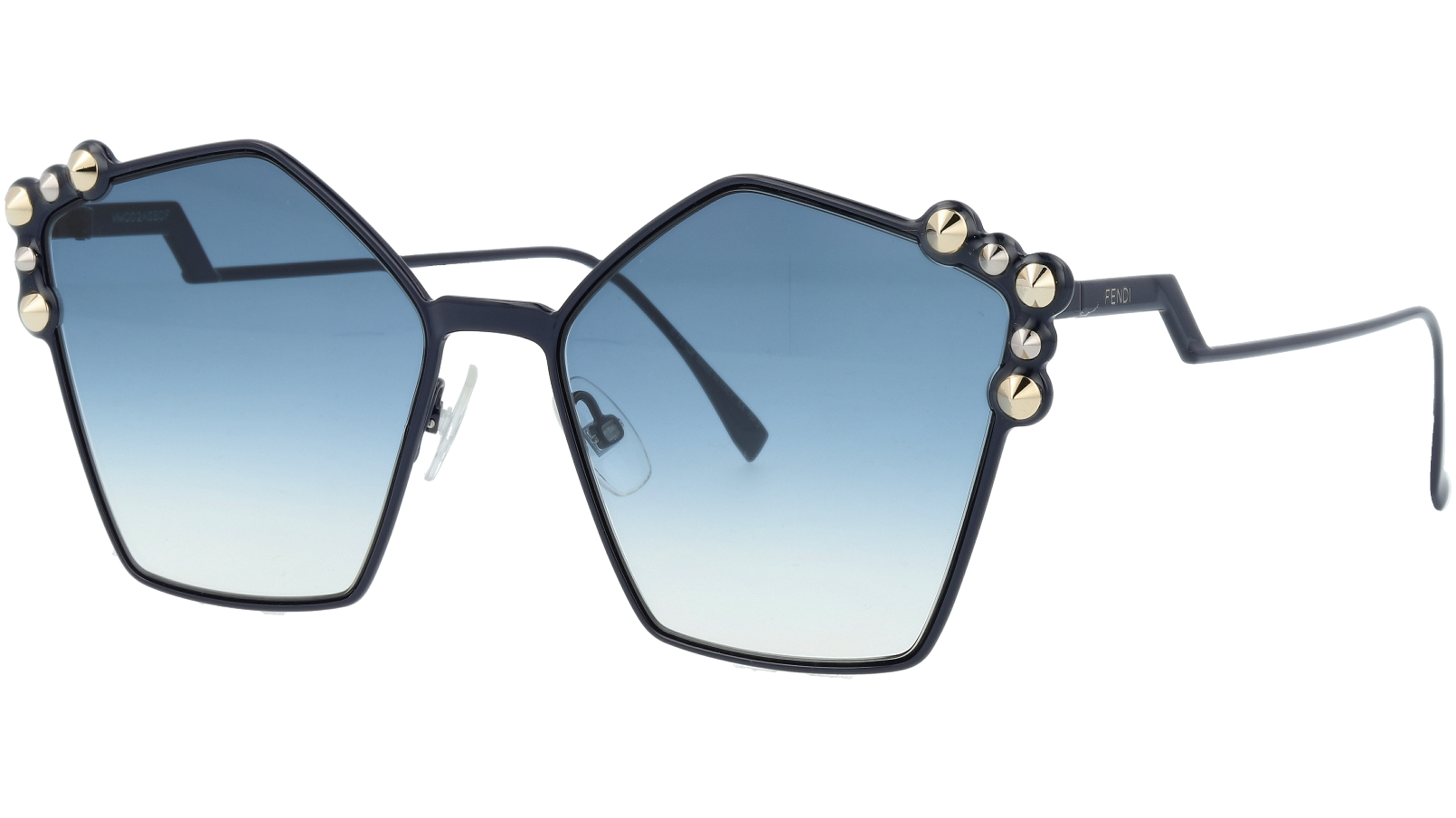 FENDI FF0261/S PJP08 57 Blue Studded Pentagon Sunglasses