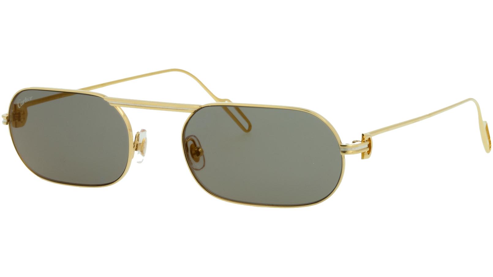 Cartier CT0112S 001 55 Gold Rectangle Sunglasses
