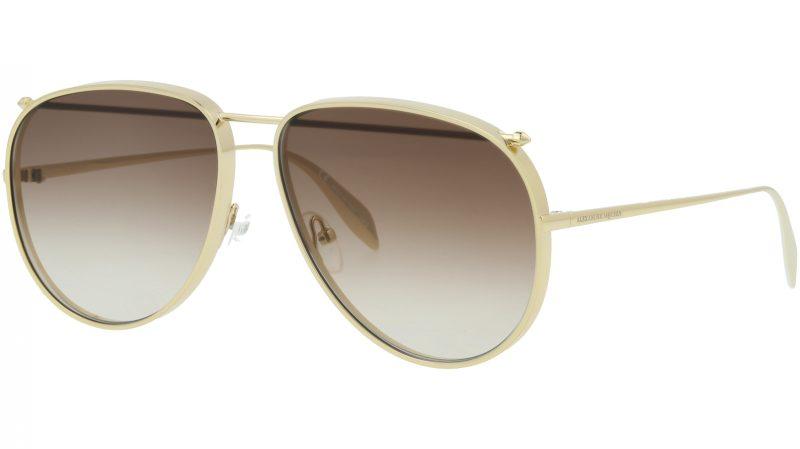 Alexander McQueen AM0170S 001 61 GOLD Sunglasses