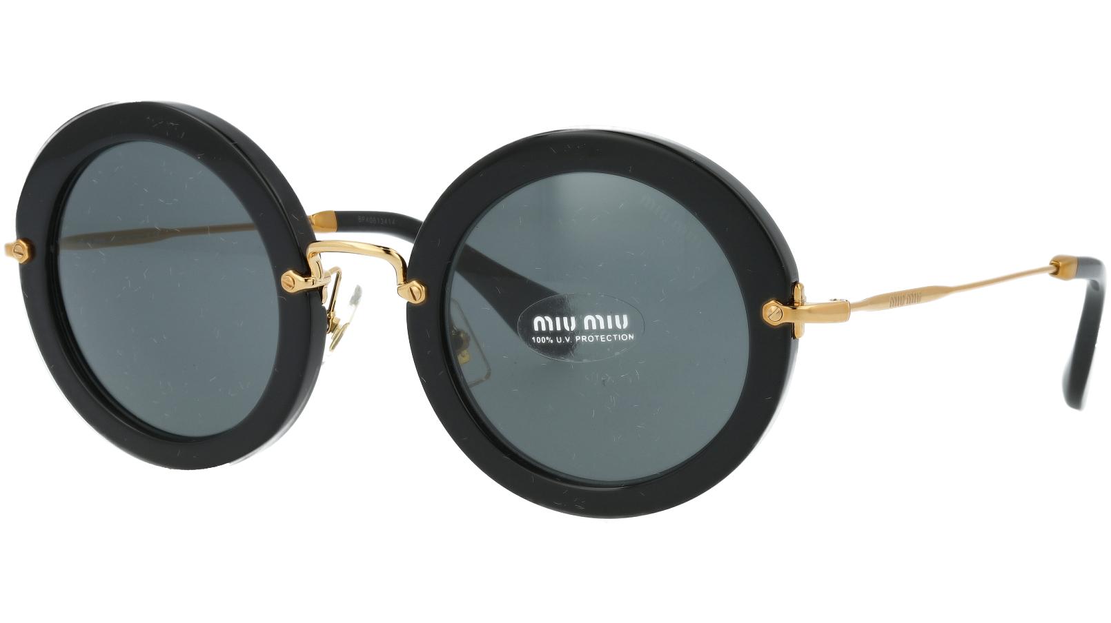 MIU MIU MU13NS 1AB1A1 49 Black Round Sunglasses