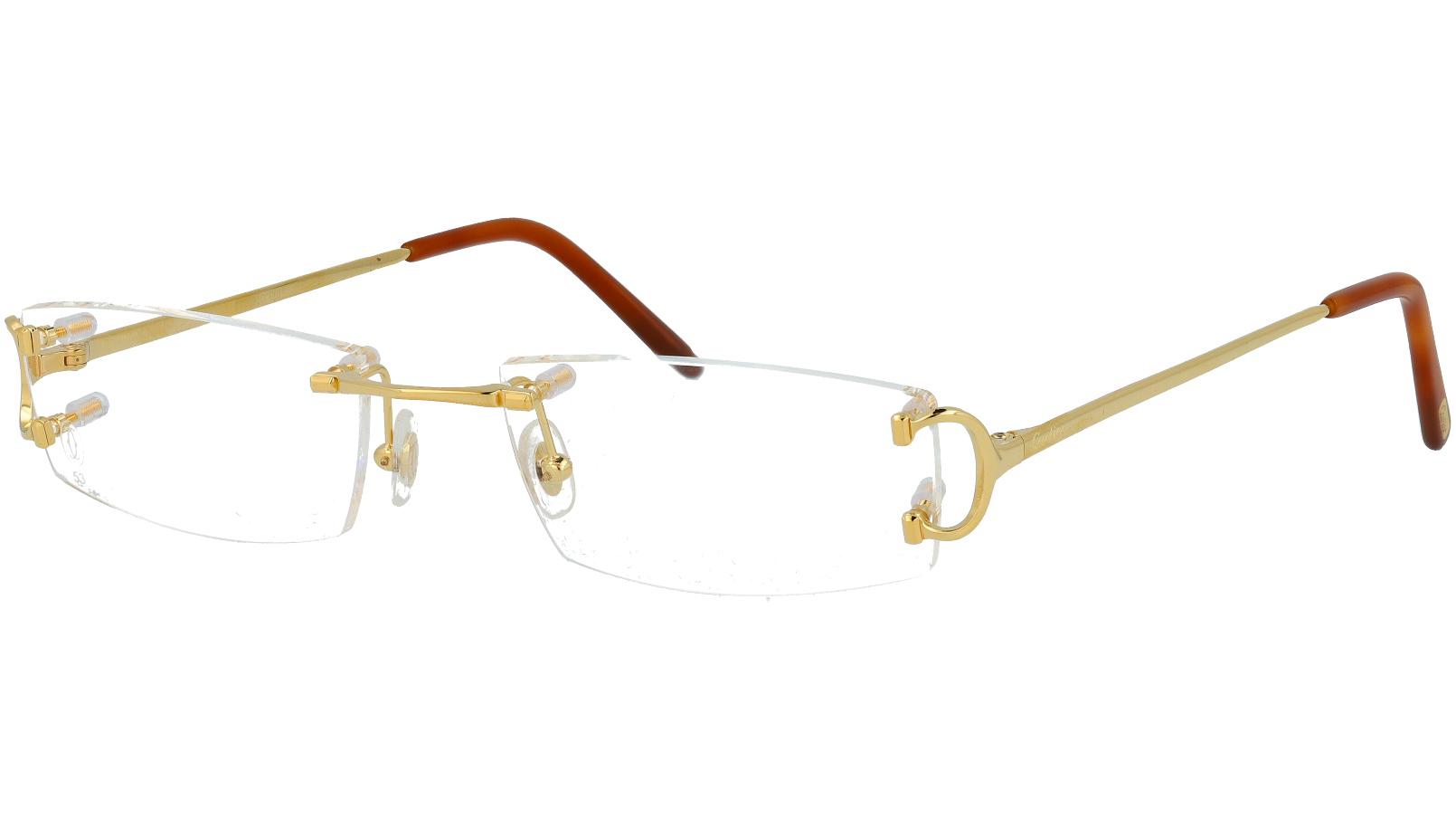 Cartier CT0092O 001 53 Gold Rimless Glasses