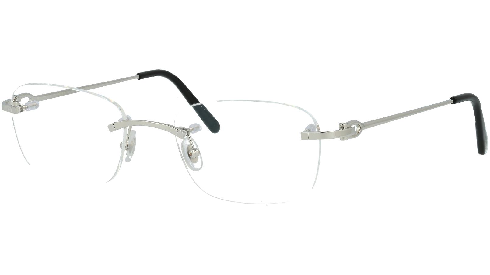Cartier CT0050O 002 53 Silver Rimless Glasses