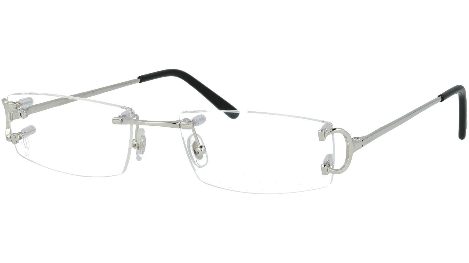 Cartier CT0092O 002 53 Silver Rimless Glasses