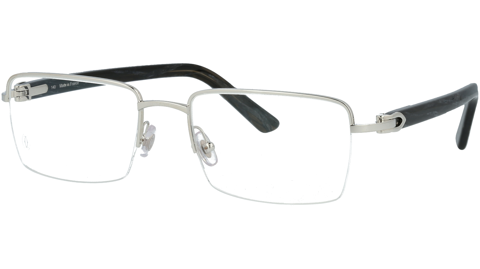 Cartier CT0042O 004 55 Silver Rectangle Glasses