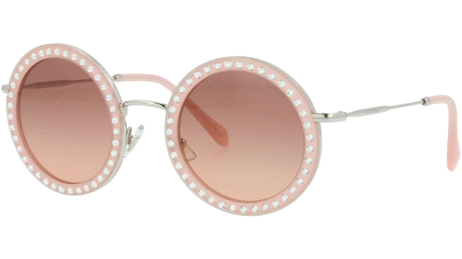 MIU MIU MU59US 1530A5 48 Pink Round Sunglasses