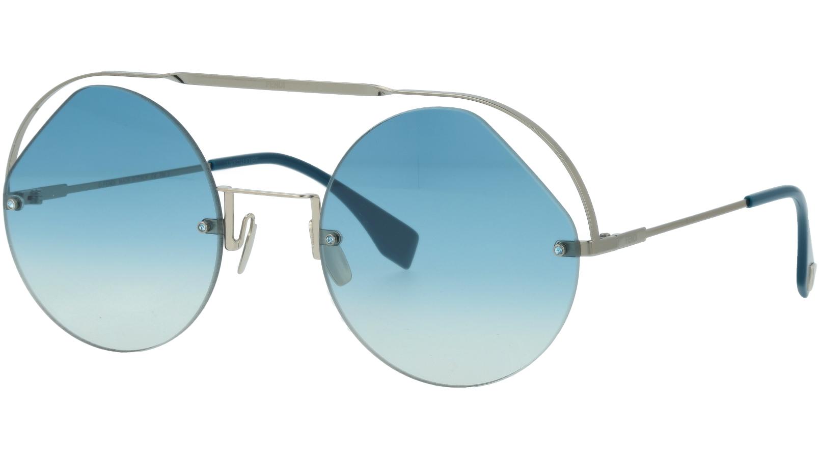 FENDI FF0325/S PJPG5 56 Blue Silver Round Sunglasses