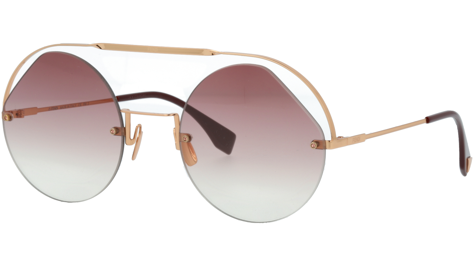 FENDI FF0325/S QHO3X 56 Cyclamen Gold Round Sunglasses